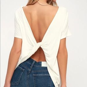 Lulus Boca White Twisted Knot Open Back Tee SM